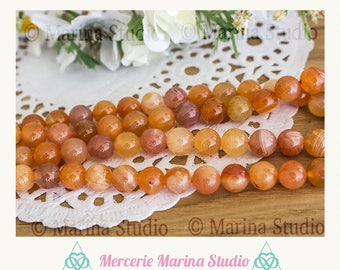 5 natural 8mm - semi precious beads carnelian agate beads