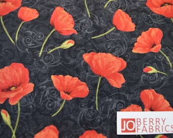 Red Poppies from the Scarlet Dance Collection by Cynthia Coulter for Wilmington Prints,  Quilt and Craft, Fabric by the Yard.