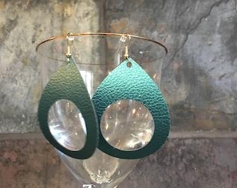 Green Faux Leather Earrings