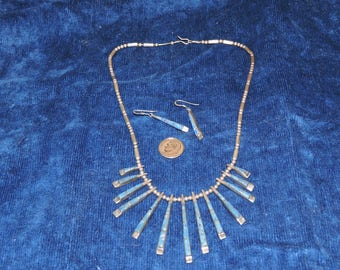 Cleopatra Necklace & Earrings in Lapis and Sterling