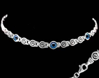Ancient Greek Sterling Silver Mati Collection - Bracelet w/ Greek Key and 3 Mati Evil Eye (6mm)