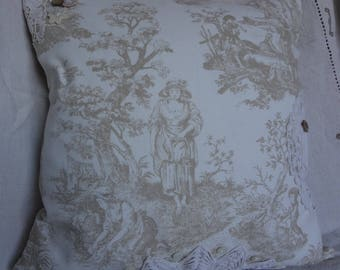 Toile Embellished Cushion Pillow Cover Vingage Look Chic Shabby Country Cushion Pillow / Down Feather Insert