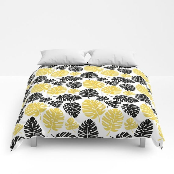 Colorful Leaves Bedding in Black and Yellow Design by FeelGoodAtHome