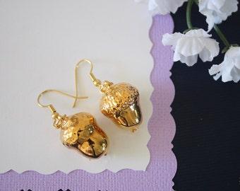 Gold Acorn Earrings, Gold Real Acorns, Gold Acorns, Acorns, Copper Acorn, Yellow Acorn, Nature, Orangic, AC20