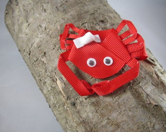Crab lobster ribbon art hair clip