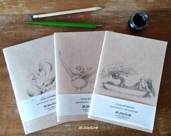 PACK - 3 Cuadernos de notas A5 - Ilustración de Fantasía - Pájaro - Dragón - Bonsai