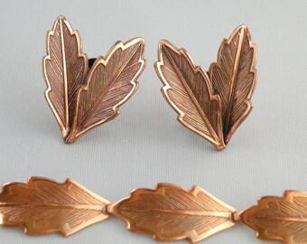 "Copper Jewelry Bracelet and Earrings Vintage 1980""s"
