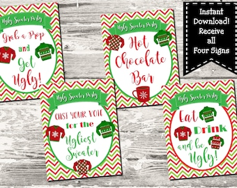 Instant Download Christmas Ugly Sweater Party 4 Sign Set Photo Booth Eat Drink Be Ugly Hot Chocolate Voting Sign Printable Digital