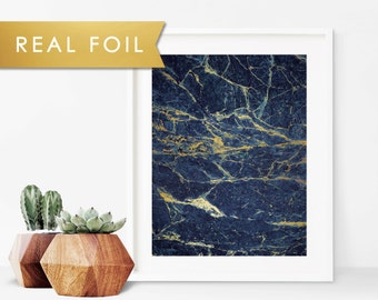 Navy And Gold Marble Real Foil Art Print 11x14, 8x10, 5x7