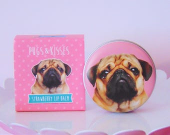 Super Cute Pugs & Kisses Lip Balm- Strawberry or Vanilla