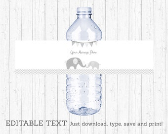 Cute Elephant Water Bottle Labels / Elephant Baby Shower / Chevron Pattern / Grey & White / Printable INSTANT DOWNLOAD Editable PDF A144