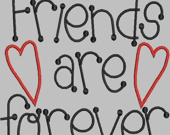 Friend Are Forever Primitive Embroidery Design Collection (in 4 languages)