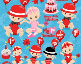 Valentine baby Clipart, Valentine Clipart, Love Clipart, Cute Baby Clip Art, commercial use, AMB-1580