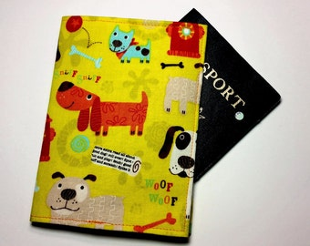 FREE SHIPPING UPGRADE with minimum -  Passport case / passport holder / passport cover : Happy Dogs