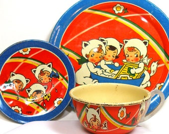 30s Tin Toy Tea Setting, Girls as Kittens story. 3 pieces, cup, plate, saucer by Ohio Art.