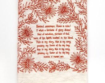 Hymn Tea Towel Blessed Assurance housewarming gift teacher gift ideas mothers day gift botanical print art print gift for her