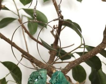 Sea Green sparkly Quartz dangle earrings