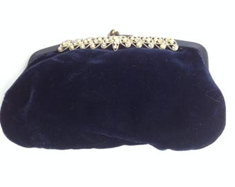 Small Blue Velvet Clutch