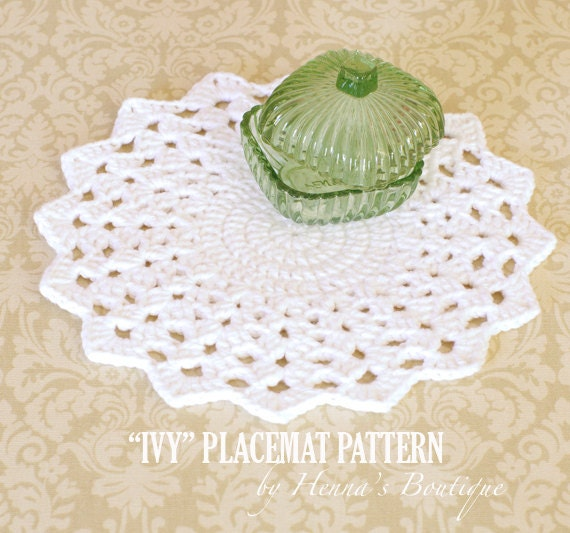 Crochet Placemat Pattern Round Ivy Placemats Pdf