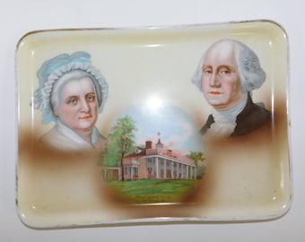 1800 George Washington Tray Antique commemorative porcelain tray George Washington, Martha Washington, and Mount Vernon