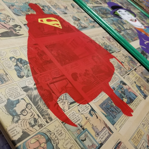 Original Superman Painting over Collage of Actual Comic Pages