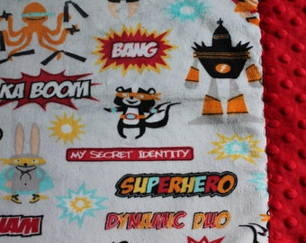 Travel Pillowcase - Comics Superhero Print Minky with Red Dimple Dot Minky Border - great for a Toddler or Travel Pillow
