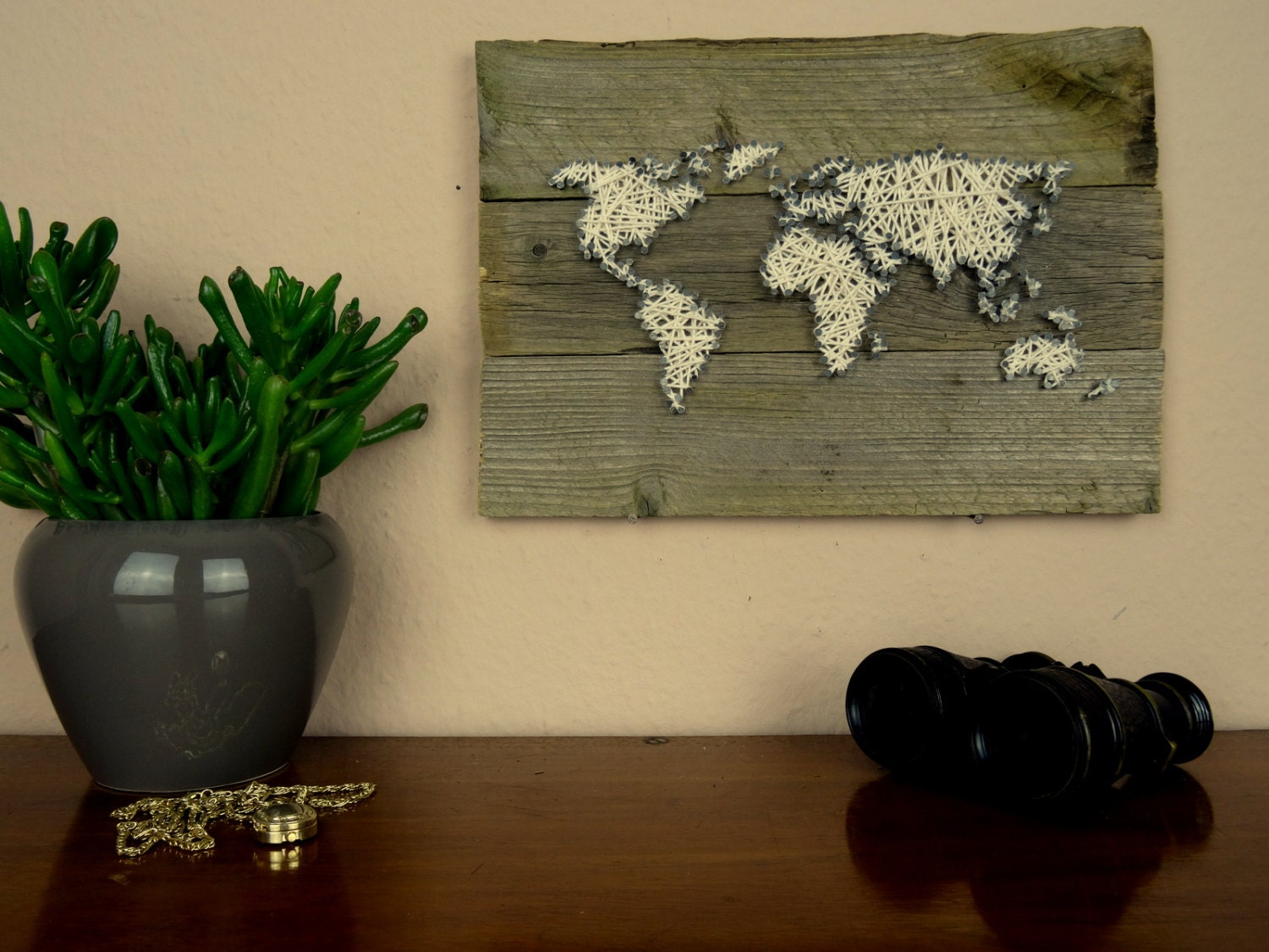 World map wall decal string art map reclaimed wood art zoom gumiabroncs