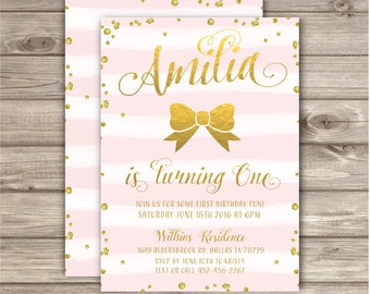 First Birthday Pink and Gold Invitations Sparkle Glitter Party girl 1st Birthday them Bow stripesDigital Printable Invitations NV5301