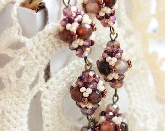 Tutorial Long Beaded Earrings - Beading Pattern, Beaded Bead Tutorials, Instant Downloading,PDF,Jewelry Tutorials. Beading Tutorials