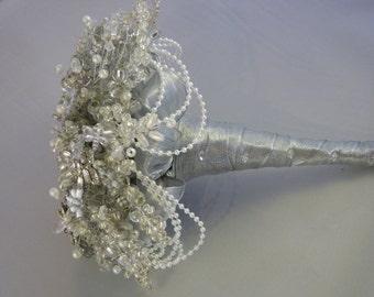 Great Gatsby wedding bouquet, 1920's style wedding bouquet, Flower brides bouquet, Brooch bouquet, Silver bouquet, beaded bouquet, dragonfly