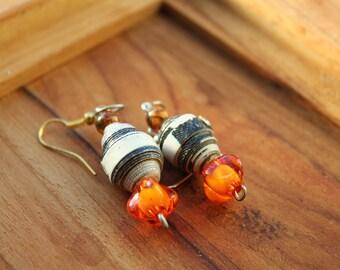 Paper Bead Earrings ~ Sunset