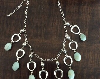 Necklace with mint green natural stones