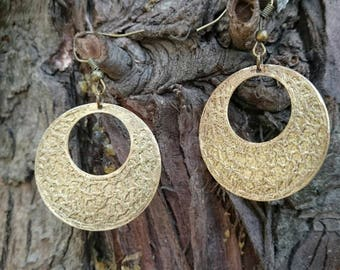 Brass etched earrings Boho earrings