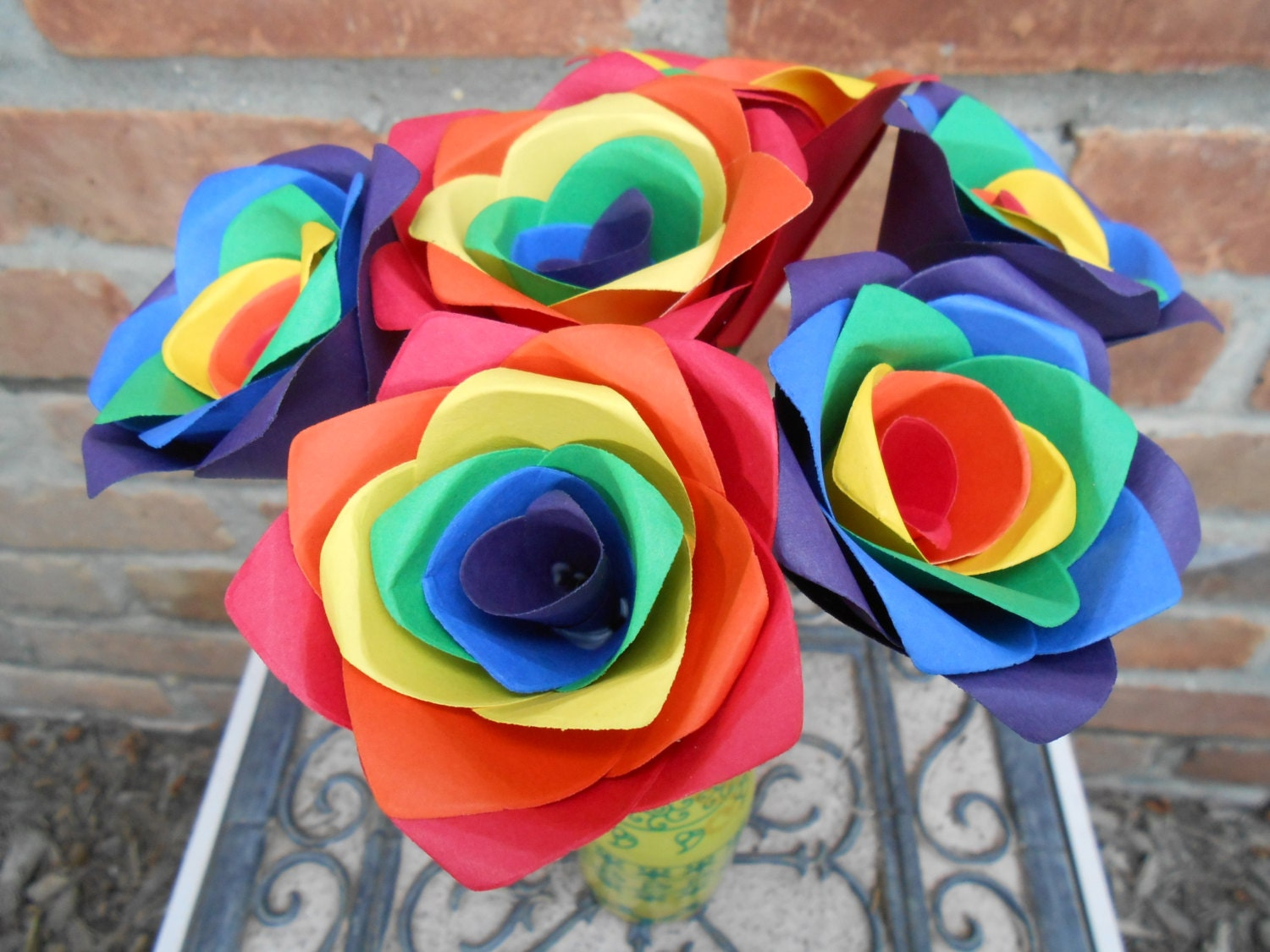 Rainbow Roses Half A Dozen. Red Orange Yellow Green Blue