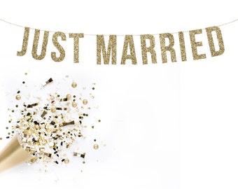 JUST MARRIED Glitter Garland. Wedding Photos. Wedding Photo Booth