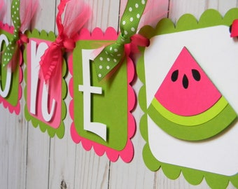 Pink and Green Watermelon Birthday Party High Chair Mini Banner - Watermelon Party Decorations - High Chair Garland - First Birthday