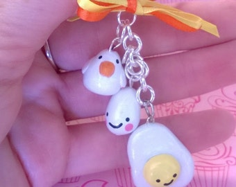 FREE US SHIPPING Kawaii Chicken, Egg, and Fried Egg Polymer Clay Charm Keychain Gift Ooak Small Figurine Breakfast Food Animal Cute