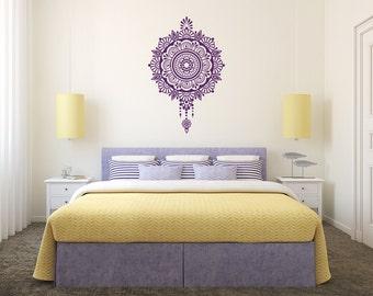 Mandala Wall Decal Namaste Moroccan Pattern Vinyl Sticker Decal Indian Home Decor Yoga Studio Bedroom Dorm AL2