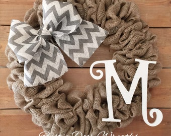 Front Door Wreath | Spring Burlap Wreath | Everyday Wreath | Year Round Wreath | Farmhouse Wreath | Rustic Wreath