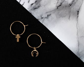 Gold moon and cross earrings, mismatched earrings