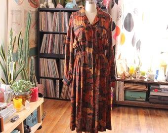 abstract art print rayon shirt dress . earthtone midi dress with long sleeves . womens medium large