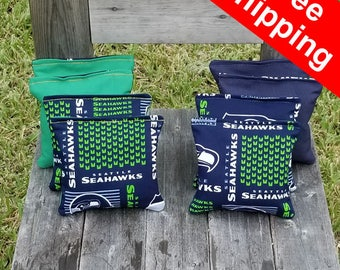 "FREE SHIPPING! Seattle Seahawks set of 8 corn hole bags, top notch quality: 6"" regulation size!"