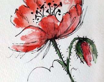 Original Watercolor Art Red Poppy Flower Hand Painted Poppy Flower Red Painting