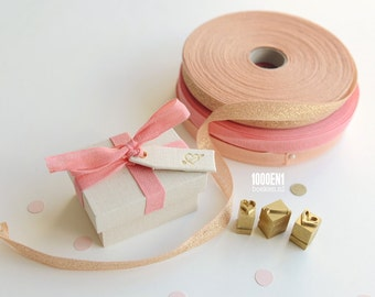 Personalized ring box with natural linen and pink bow, wedding, proposal ring box
