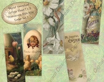 Instant Download Printable Collage Sheet 1 x 3 Microscope Slide size Easter Set 1