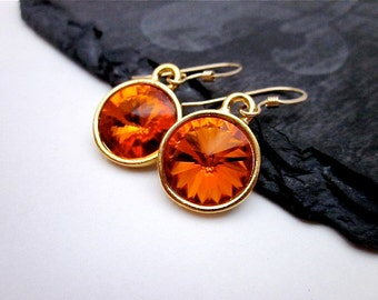 Gold Orange Drops, Orange Swarovski Jewelry, Orange Crystal Dangles, Tangerine Earrings, Bright Orange Drop Earrings, Orange Earrings Gift