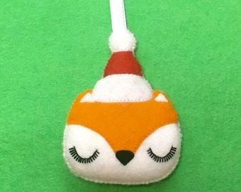 Fox Christmas Decoration - Fox Decoration - Christmas Tree Ornament - Woodland Fox Ornament - Animal Ornament - Felt Christmas Ornament
