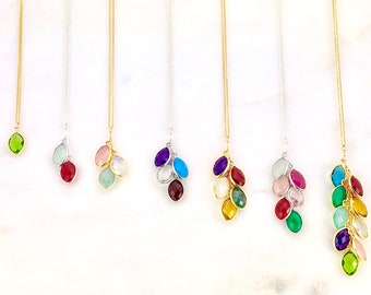 Birthstone Necklace, Family Tree Necklace, Mother's Day Gifts, Gifts for Grandma, Gifts For Mom, Gemstone Necklace, Mothers Day Gift