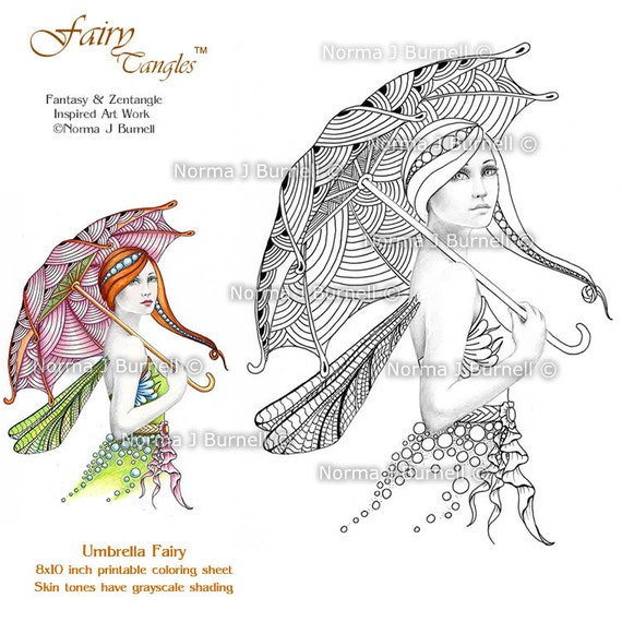 Fairy Tangles Printable Coloring Book Pages Grayscale