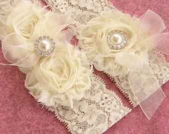 Ivory Garter, Wedding Garter, Toss Garter included  Ivory with Rhinestones and Pearls  Custom Wedding colors